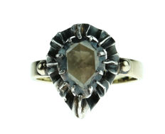 Antique 14 karat gold crown ring with large diamond in silver setting, rose cut