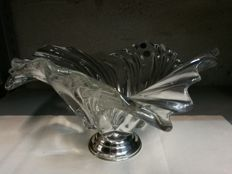 Centrepiece in crystal and silver 800/1000, Made in Italy 1980s