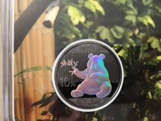 China - 10 Yuan 2017 'Panda' hologram and ruthenium plated in blister - silver