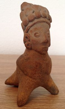 Pre-Columbian whistling figure of an anthropomorphic bird with a human face - Ecuador - 9 cm