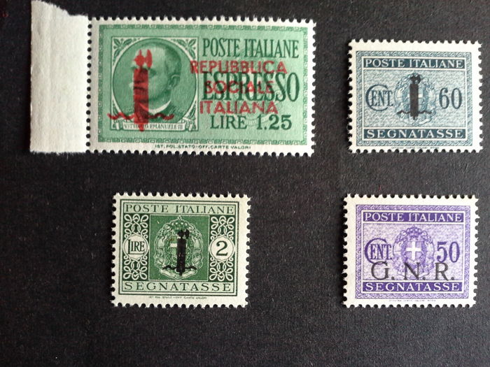 Italy 1943/1944 - 3 Postage Due and 1 Express stamps - Sass.  No. 53, 67, 69, 6a (TO)