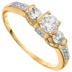 14KT gold engagement ring set with 35 diamonds - 2.66 grams in total – ring size US 7