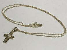 Gold necklace and gold cross pendant with zircon 40.10 cm