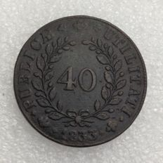 Portugal, Monarchy -- 40 Reis (Potaco), 1833, D. Maria II -- bronze