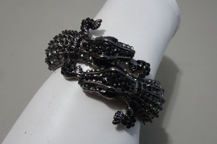 "Kenneth Jay Lane - Signed Spectacular double Alligator clamper bracelet with Black Crystals ""Couture Collection"""