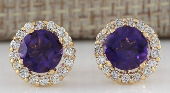 3.66 Carat Amethyst 14K Solid Yellow Gold Diamond Earrings - Face Measures: 10.83x10.83  Millimeters *** Free Shipping *** No Reserve ***