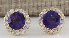 3.66 Carat Amethyst 14K Solid Yellow Gold Diamond Earrings *** Free Shipping *** No Reserve ***