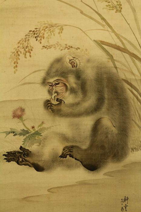 "Hanging Scroll by Oku Kouun ""奥耕雲"" (ca. 1847-1930) - ""Monkey and Rice Plant"" - Japan - ca. 1917 (Taisho period) w/box"