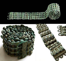 Collection bronze elements from a Celtic Warriors Belt - 114 cm