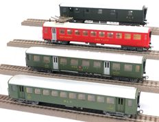 Kleinbahn H0 - 242/381/382/392 - Three passenger carriages and one baggage carriage of the SBB/CFF/FFS and BLS