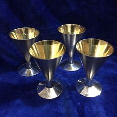 Set of 4 excellent hammer and sickle marked massive Vodka Goblets 916 Silver, gold inside, Soviet Russia, 1950-1960