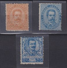 Kingdom of Italy 1879 - 10 c. orange and 25 c. Light blue - 1901 25 c. Light blue - Sassone Nos.  39/40 and 73