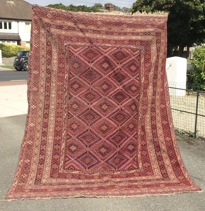 Antique Coveted Turkmen Beshir Soumak with Part Pile Rug Kilim