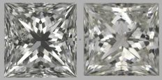 Pair of  Princess  Brilliant  1.00ct total  H SI2 - H SI2 - EGL USA -Original Image 10X #2223-2097