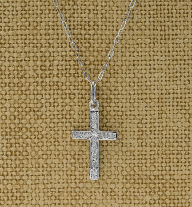 White gold, 750/1000 (18 kt) - Choker with cross-shaped pendant - Brilliant-cut diamonds of 0.15 ct