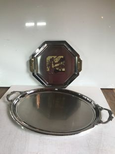 """Set of 2 dishes from the Goldsmith """"Couzon"""" Art Deco decor and Asian"""