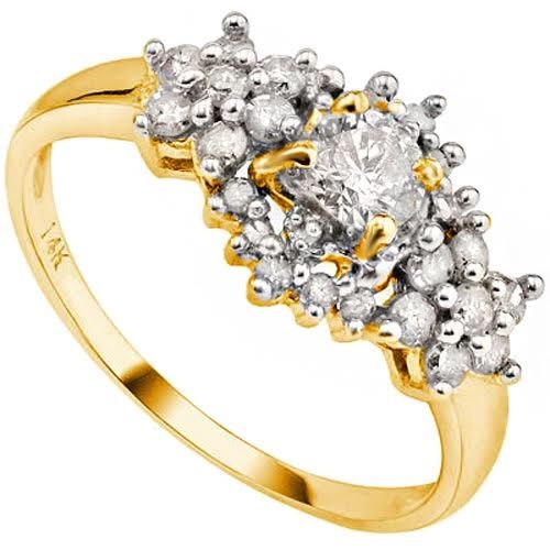 14KT gold engagement ring set with 24 diamonds - 2.71 grams in total