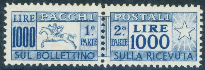 Kingdom of Italy 1954 - Postal packages, 1000 Lire, overseas, 'Cavallino' - Sassone no. 81