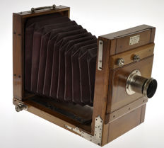 "Beautiful and very old ""travel"" wooden camera 13x18cm with lens, probably ""made In Italy or France''"