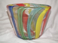Glass vase with air bubbles and 12 bands of colour