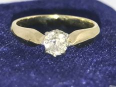 Vintage Alliance old cut diamond approx 0,45ct ring size 49