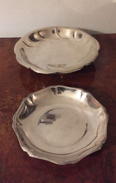 Silver plated bread tray with lobbed edge & salad dish .