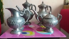 Antique tea set of processed pewter