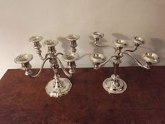 2 Beautiful vintage silver plated 5 arm candle holders.