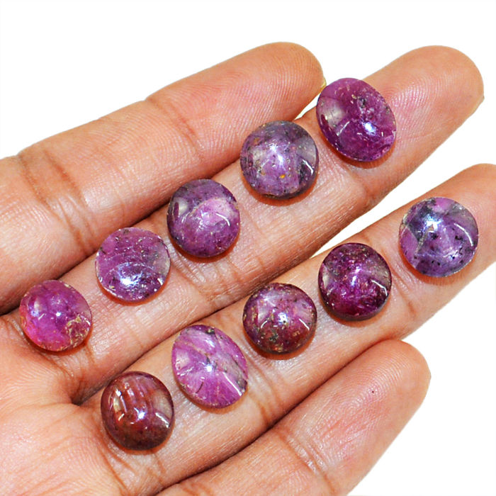 Rare Genuine Star Ruby Cabs lot - 80 ct - (10 pcs)
