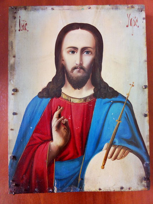 19th century ortodox russian icon of Jesus Christ vsederzhatel hand painted