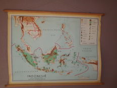 Beautiful map / school poster of Indonesia by Bakker and Rusch