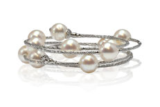Magnificent Wrap Bracelet Featuring 11 Akoya Pearls crafted in 18K White Gold  ** No Reserve Price **