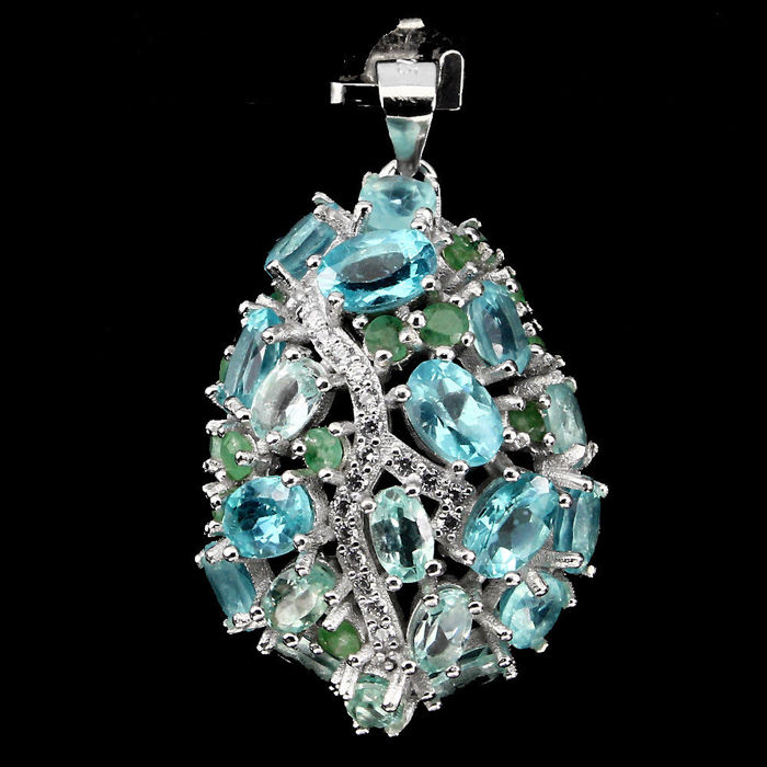 Apatite and Emerald 925 Sterling Silver Pendant