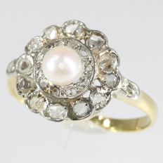 Pearl and diamond bicolour gold Art Deco  ring, anno 1920