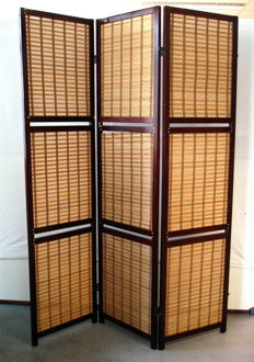 Three panel room divider with folding screens with braided panels