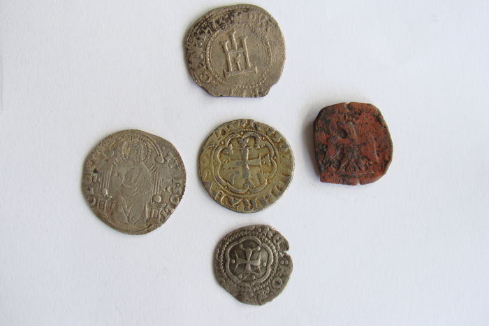 Italian states - 5x coins 13th-17th century (incl. zilver)