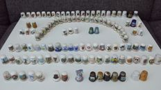 Collection of 122 thimbles, including 25 pieces of Franklin Porcelain Limited Edition 1979