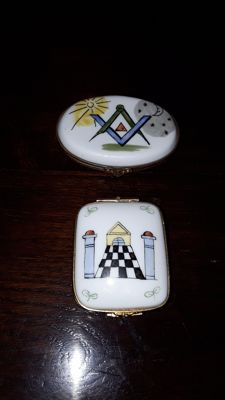 Set of Porcelain Masonic boxes with bronze fittings