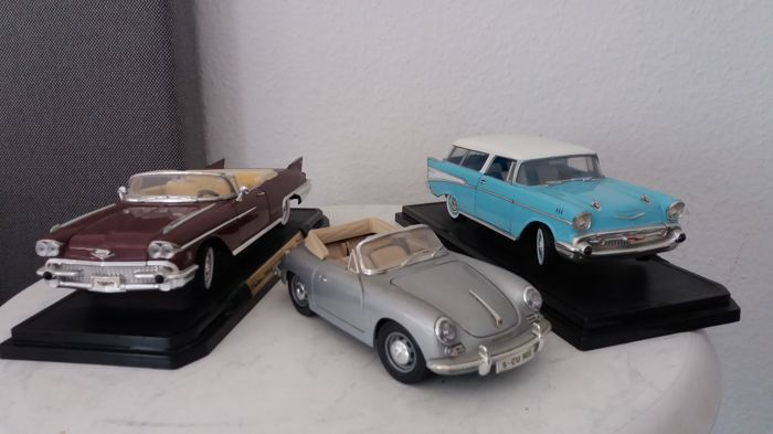 Road Signature - scale 1/18 - lot with 3 model cars: Cadillac Eldorado 1958 Biarritz, Chevrolet Nomad 1957 & Porsche 356 - 1961