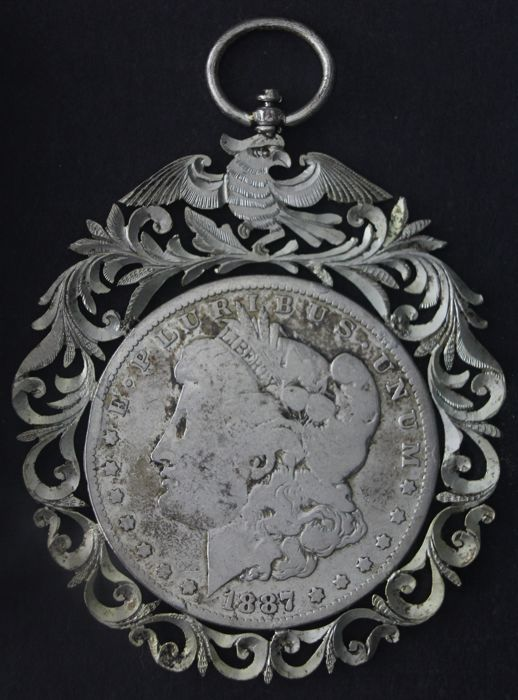 Handmade silver necklace pendant of 1 dollar 1887, American Morgan Dollar