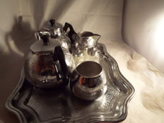 vintage tea and coffe set with tray and salt and pepper pots