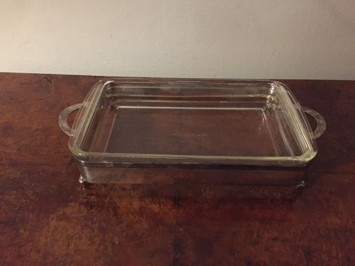 Vintage PM Italy silver plated carrier with large refractory glass serving bowl.