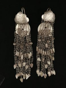 Antique silver earrings – SW China, late 19th century