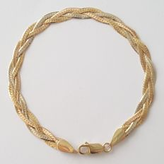 18 kt tricolour gold plaited bracelet - length: 18