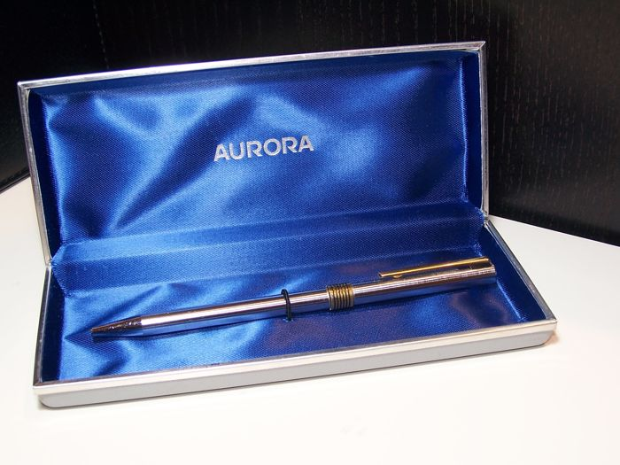 AURORA vintage roller pen in steel MADE IN ITALY, in original packaging