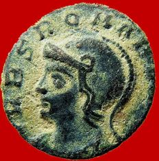 Roman Empire - Urbs Roma beata., half follis (1,26 g,. 14 mm.) from Rome mint, 337 A.D.  She-Wolf and twins. R Leaf Q Palm. Extremely rare.
