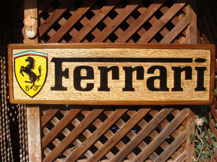 FERRARI Large unique handmade sculpting logo made from wood - 30,5 cm x 102 cm