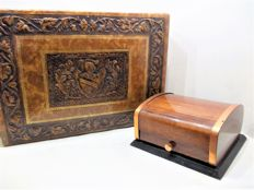 A beautiful Art Deco roller box with ashtray of Petrole Hahn and a leather decoration box of Tobler chocolate