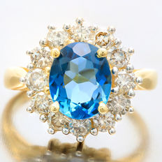 14K Gold Ring set with 2.85 cts Blue Topaz and 12 pcs Diamonds approx 1.38 ct - ring size US 7 1/4 Europe 55