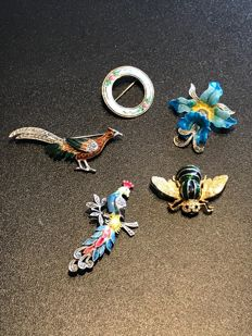 Collection of enameled Brooches bee signed spinx  from ca. 1960's